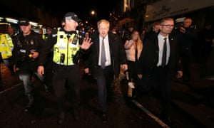 Boris Johnson visiting the flood-hit town of Matlock, Derbyshire.
