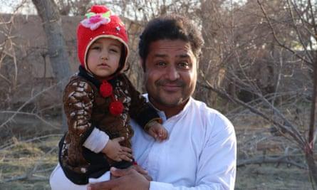 Elyas Dayee, 34, with his daughter Merabani.