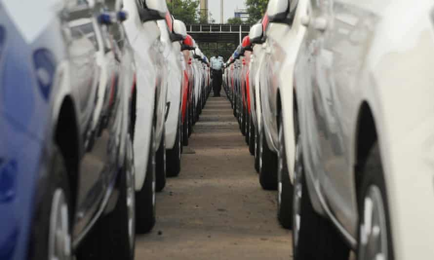 Parked cars ready for shipment in Chennai.