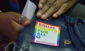 A sticker calling for equal rights seen at a court hearing in Nairobi in February.