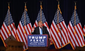Donald Trump at a recent rally in Phoenix, Arizona, where his attack on state senator Jeff Flake could be costly.