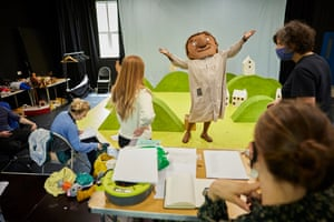 Performer Duane Gooden during costume fitting for a musical production of Julia Donaldson and Axel Scheffler's children's book, The Smartest Giant in Town