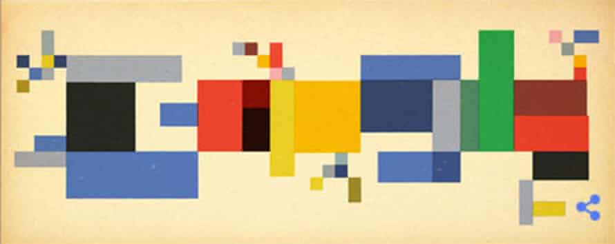 Google doodle in the style of Sophie Taeuber-Arp.