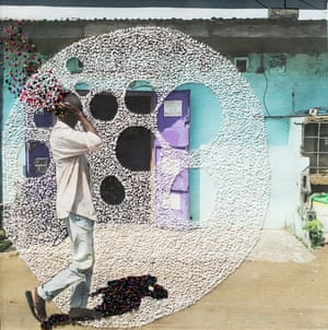 Stitches in time … an embroidered photograph from Joana Choumali's series Ça va aller (It Will Be OK)