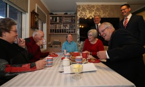 Prime Minister Scott Morrison during a residential care visit in Canberra.
