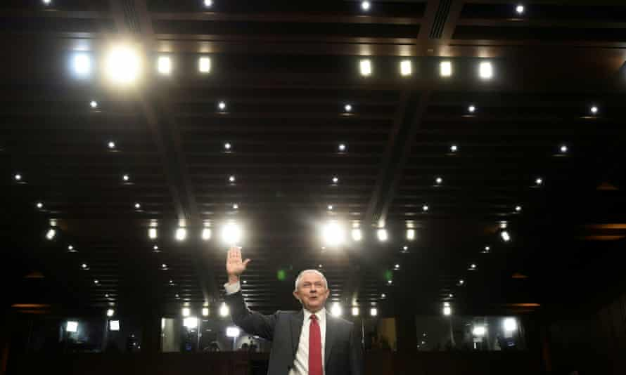 Jeff Sessions is sworn in before testifying before the Senate in Washington DC Tuesday.