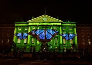 Trinity College lights up with projections ahead of New Year's Eve celebrations in Dublin.
