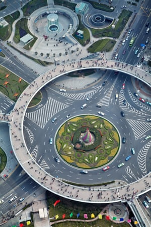 Pudong, Shanghai, China Interchange photographed through the spherical glass floor of the Oriental Pearl Tower, in the financial heart of Shanghai.