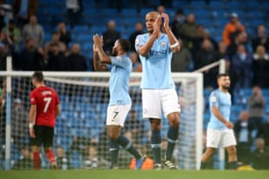 Kompany applauds the fans after Manchester City beat Southampton 6-1.