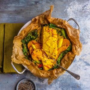 Salmon, winter greens and sweet potato 'en papillote', by Dan Lepard. 20 best meals for one. Food stylist Polly Webb-Wilson.