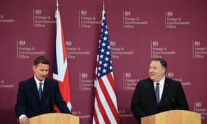 US Secretary Of State Mike Pompeo with Jeremy Hunt in the UK