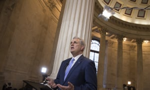House majority leader Kevin McCarthy discusses the move by Republicans to eviscerate the independent Office of Government Ethics in Washington Tuesday.