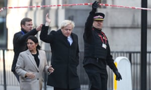 Boris Johnson, who attended the site of the London Bridge attack with the home secretary Priti Patel, has been criticised for suggesting that all convicted terrorists should be jailed for life.