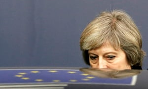 Theresa May at an EU summit in 2016. The 8% swing from Tories to Labour in constituencies that voted to remain suggests her uncompromising stance played a big part in the election result.