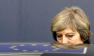 Theresa May and reflection of EU flag
