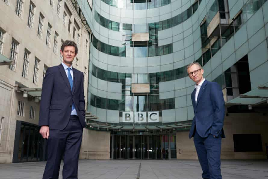 BBC television reporters Hugh Pym and Fergus Walsh at Broadcasting House in London on Friday.