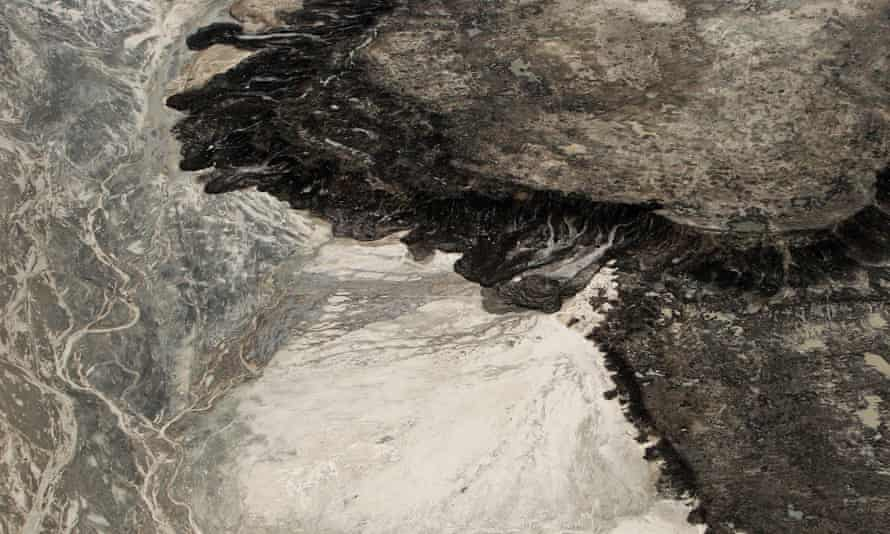 Aerial view of a tailings mine near Fort McMurray, Alberta, Canada