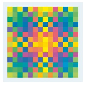 Karl Gerstner (Swiss, b. 1930), <em>Polychrome of Pure Colors</em>, 1956-58. Printer's ink on cubes of Plexiglas, 1 1/4 × 1 1/4 in. (3 × 3 cm). ea., fixed in a chrome-plated metal frame, 18 7/8 × 18 7/8 in. (48 × 48 cm) ea. Courtesy of the artist.