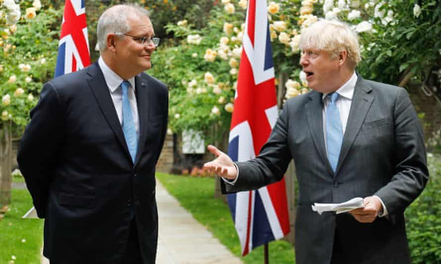 Scott Morrison and Boris Johnson.
