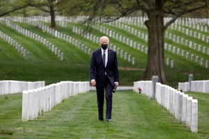 Arlington, USPresident Joe Biden visits Section 60 at Arlington National Cemetery. Section 60, is the burial ground in the cemetery where military personnel killed in the Global War on Terror since 2001 are interred