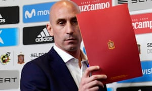 President of the Spanish Football Federation, Luis Rubiales, arrives at the Spain press conference.