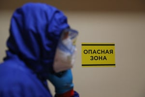 A medical worker in a protective suit in the red zone of a Covid-19 facility at the Rostov-on-Don Regional Clinical Hospital in Russia.