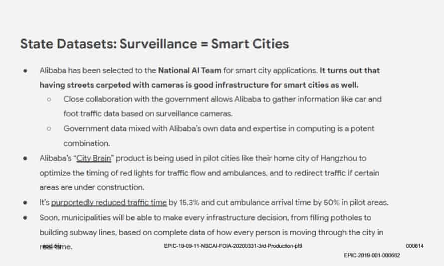 A slide from the Chinese Tech Landscape Overview (NSCAI presentation) discussing surveillance.