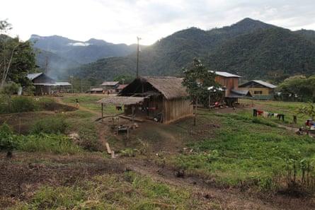 Shuar homes in the village of  Tsuntsuim
