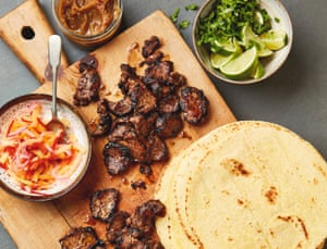Yotam Ottolenghi's BBQ lamb tacos with pineapple pickle and chutney.