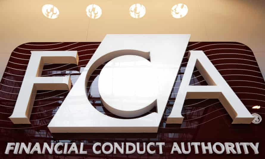 Financial Conduct Authority logo at the agency's headquarters in Canary Wharf, London