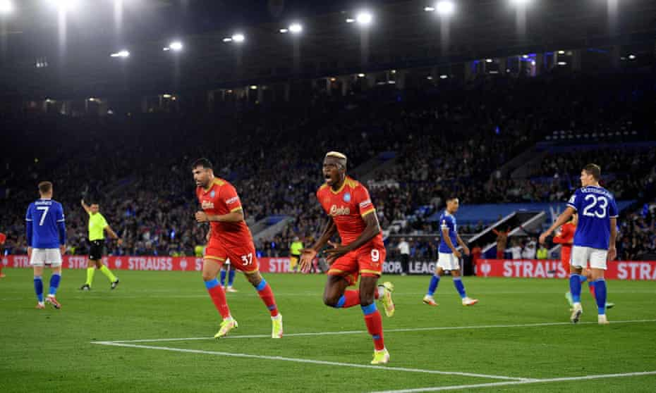 Victor Osimhen celebrates his second goal of the game, which earned Napoli a 2-2 draw at the King Power Stadium.