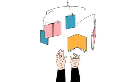illustration of a baby mobile made of books