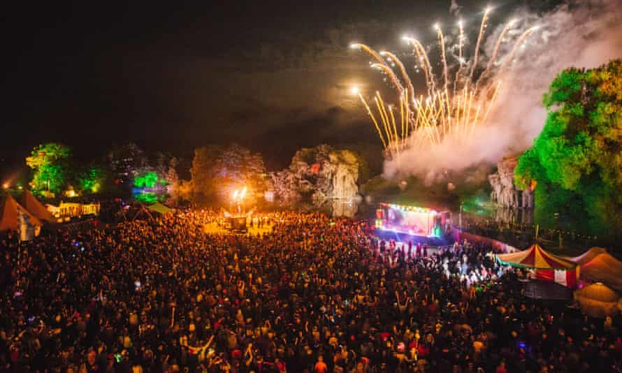 Fireworks over a stage, during an event performance at the Shambala festival in Northamptonshire, UK.