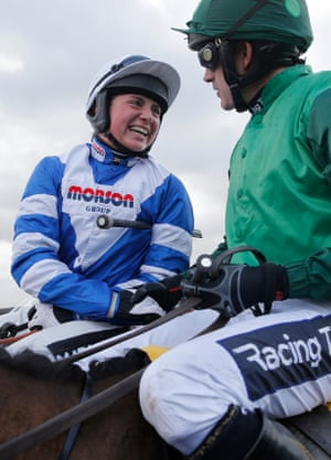 Winner Bryony Frost on Frodon is congratulated by Ruby Walsh on Footpad after the finish in the Ryanair Chase. Frost's victory meant that she become the first female jockey to ride a top-level Grade One Cheltenham Festival winner