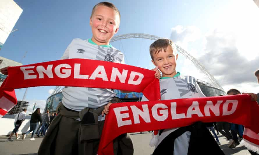 Young England fans before an England Euro 2020 qualifying game at Wembley. But there are many young people who have never seen a game of football live.