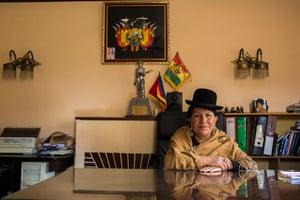 Remedios Loza in her office at Radio Andina in La Paz