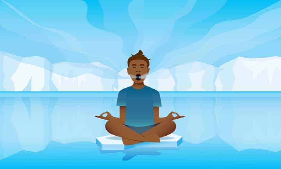 Illustration of a yogic breather floating on ice