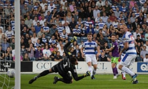 Matty Taylor drives in Bristol City's deadlock-breaking goal at Loftus Road.