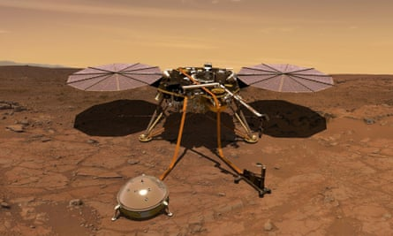 Artist's rendition of Mars InSight probe operating on the surface of Mars.