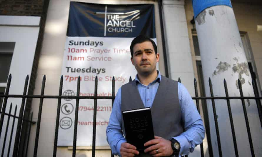 Pastor Regan King outside the Angel Church in north London