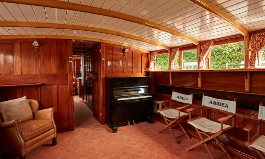The Ardea's panelled interior, with piano.