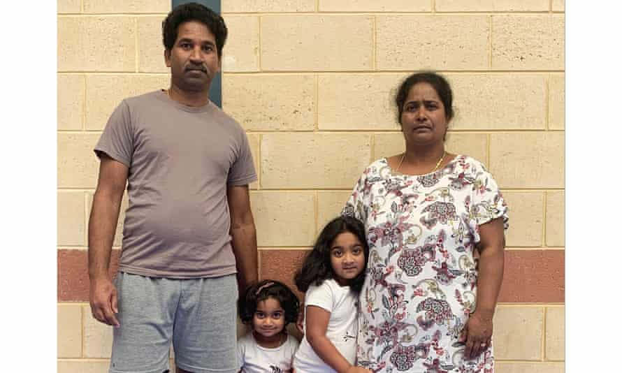 Tamil couple Nades (left) and Priya Murugappan (right) with their Australian-born daughters, Kopika, and Tharunicaa, at the detention centre on Christmas Island.