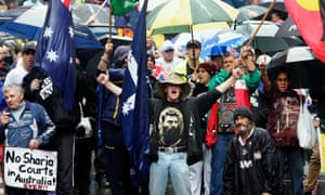 'There will be no skinheads turning up at the Mackay rally, but if there were I would tell them where to go too.' Reclaim Australia rallies in Martin Place, Sydney.