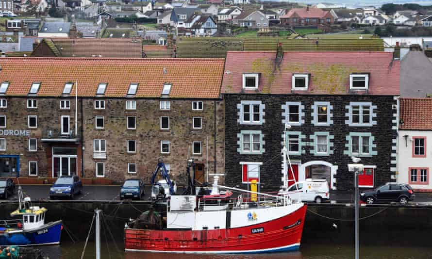 A fishing boat in the harbour at Eyemouth in the Scottish Borders.