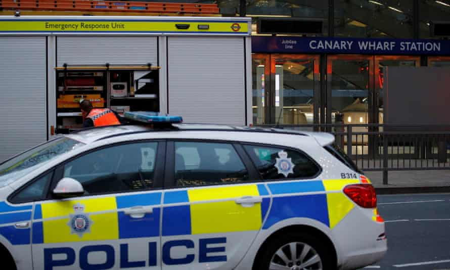 Emergency services at Canary Wharf tube station on Monday after a man fell to his death.