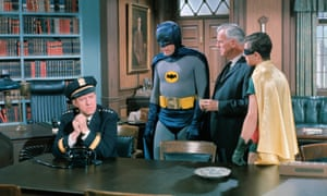 Stafford Repp as Chief O'Hara, Adam West as Batman, Neil Hamilton as Commissioner Gordon and Burt Ward as Robin in a scene from 1966's The Bookworm Turns episode in the Batman TV series