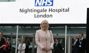 Health minister Nadine Dorries attends the opening of the NHS Nightingale hospital at the ExCel centre.