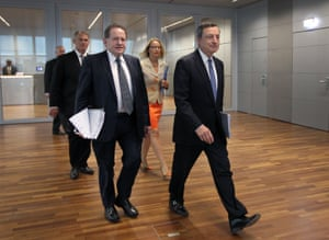 Mario Draghi (right) arriving for today's meeting with vice-president Vitor Constancio.