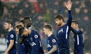 Tottenham's Fernando Llorente holds up his hand after scoring a goal against his former club, Swansea City.