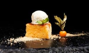 Close up image of a sponge cake and ice-cream dessert from La Fabrica restaurant, Burgos, Spain.